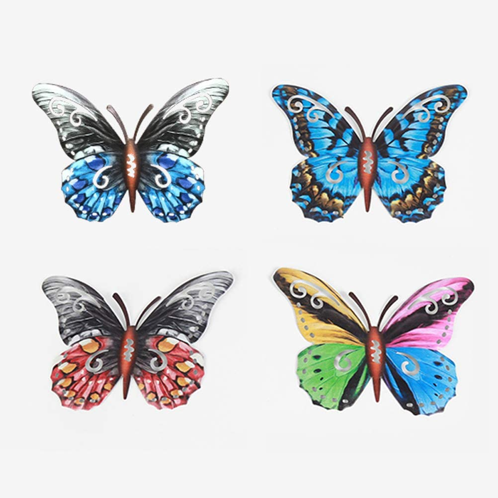 Metal Butterfly Wall Decor Outdoor, Colorful Garden Wall Sculptures Indoor or Outdoor Home Decorations,4 Pack