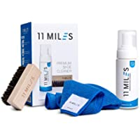 11 MILES SHOE CLEANER FOAM, Use On Suede, Leather, Nubuck, Canvas, Mesh, Knits, Nylon - For All Types of Shoes, Free Brush and Microfibre Towel, Travel-friendly, Irritation-free