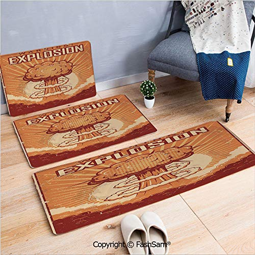 FashSam 3 Piece Flannel Bath Carpet Non Slip Vintage Pop Grunge Nuclear Atomic Explosion with Latin Words Graphic Front Door Mats Rugs for Home(W15.7xL23.6 by W19.6xL31.5 by W19.6xL59)