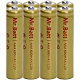 Mr.Batt NiCd AAA Rechargeable Batteries for Solar Powered Lights, 600mAh 1.2V Pre-Charged (8 Pack)