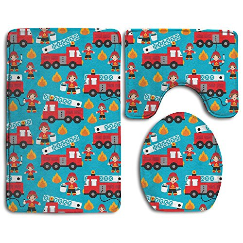 HOMESTORES Fire Truck And Hero Boys Car Skidproof Toilet Seat U Shape Cover Bath Mat Lid Cover 3 Piece Non Slip Bath Rug Mats Sets For Shower - Bath Boys Rug For