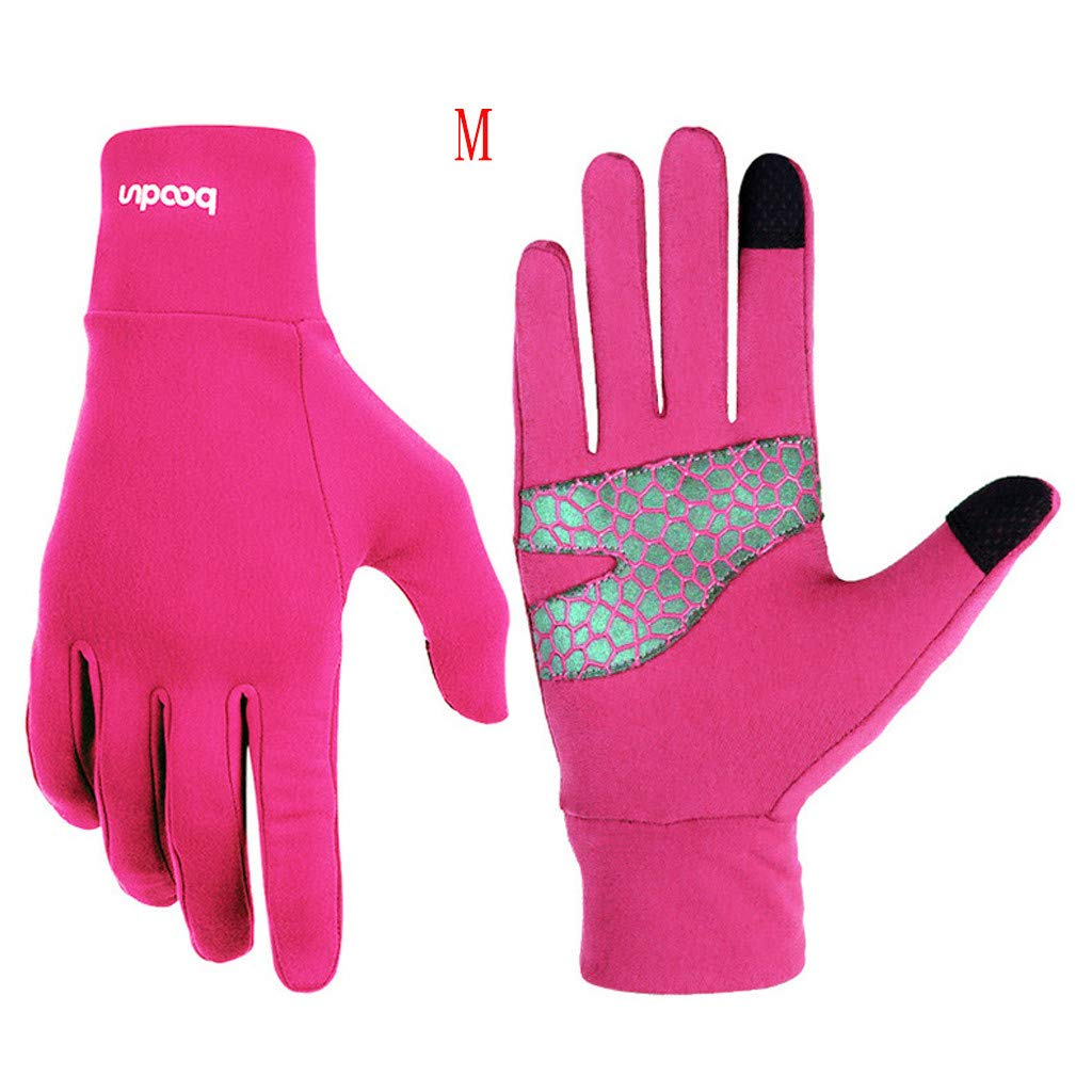 Unisex Winter Gloves, Warm Thermal Gloves Running Gloves Cold Weather Gloves Driving Riding Cycling Gloves Outdoor Sports Gloves for Men and Women (Hot Pink, M)
