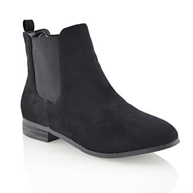 Womens Faux Suede Block Heel Elasticated Chelsea Boots