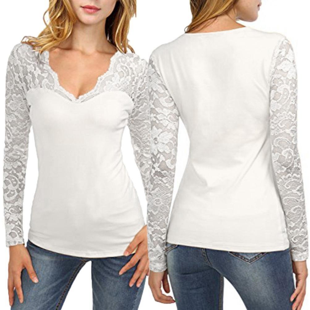VENMO Ropa Camisetas Mujer Manga Larga,Venmo Las Mujeres de Encaje Largo de Manga Larga Costura de Cuello EN V Camiseta Blusa de Jersey Tops: Amazon.es: ...