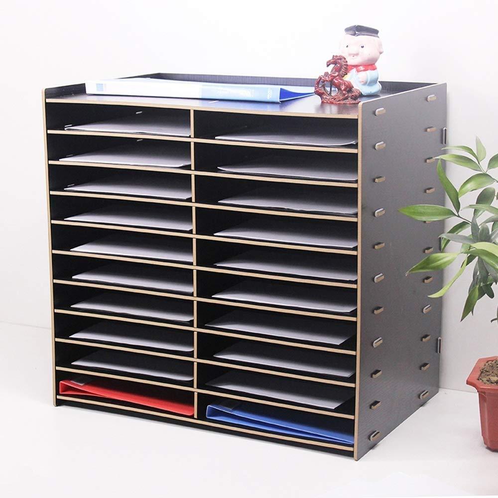 LLDDP Folders Multi-Layer File Rack Wooden Office Supplies Information Frame 20 Grid Desktop Storage Rack Frame Bar A4 Student Information Box Document Wallet by LLDDPOffice supplies