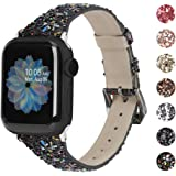 Moolia Leather Band Compatible with Apple Watch Band 38mm 40mm, Sparkly 3D Bling Leather Band Wristband Replacement for…
