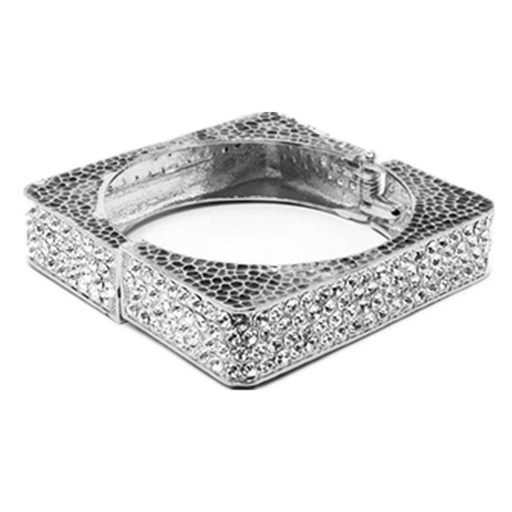 Diameter 6.20 Cm Silver Color Studded Rhinestone Square Cuff Bangle Bling Bling Shiny Bangles