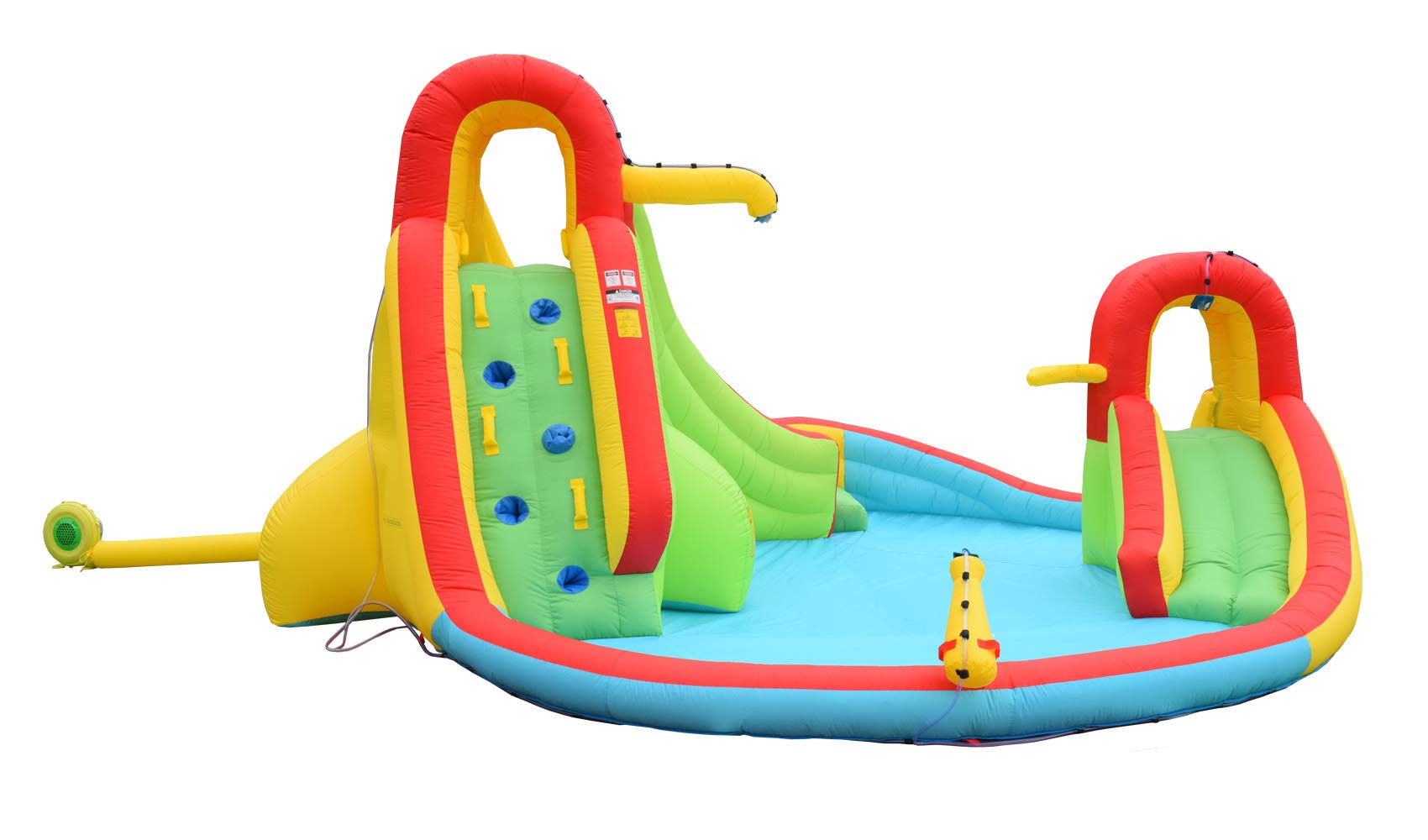 Inflatable Water Slide Well Fun Bounce House With Climbing Wall, Two Slides & Splash Pool Includes Blower Motor by WELLFUNTIME (Image #7)