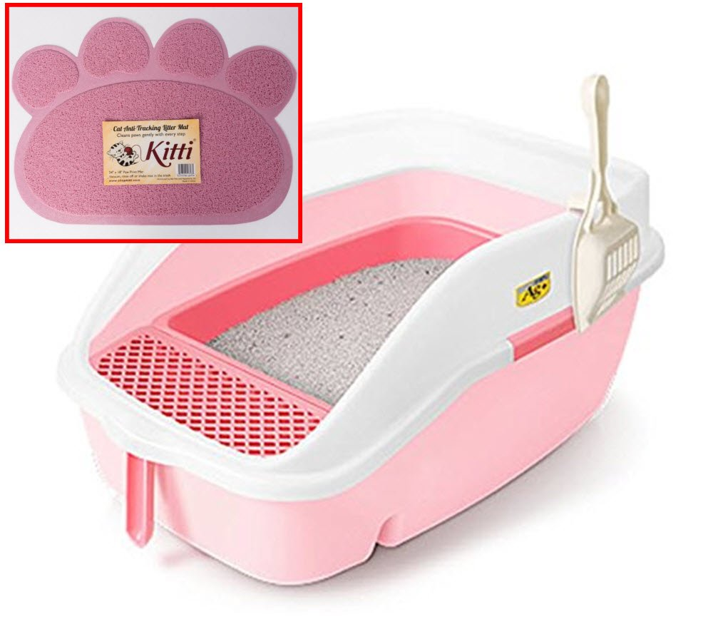 CatIdea Luxury Sifting Cat Litter Box with High Back and Sides. CL3 (Pink)