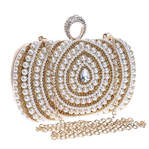 Perle Embrayage Femmes Sac Main Rassemblement Glitter Boîte Avec Métallique Interlayer Sac Or Soirée Fête Minaudiere à de Faux Pochette w6XRr6pq