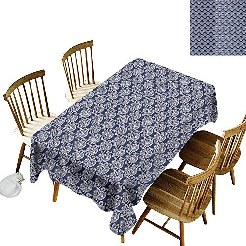 - Cranekey Fashion Tablecloth W54 x L90 Navy Blue Abstract Floral Damask with Antique Victorian Design Renaissance Flourish Dark Blue Bayberry Perfect for Spring Summer Farmhouse Décor & More