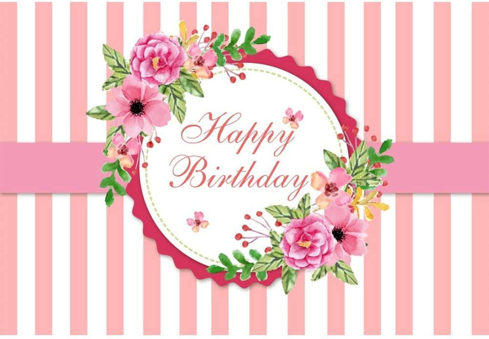 8x6.5ft Happy Birthday Backdrop Pink and White Stripes Polyester Photography Background Pink Flower Decor Edge Kids Children Girls Adult Woman Party Banner Decor Portrait Shoot Photo Props