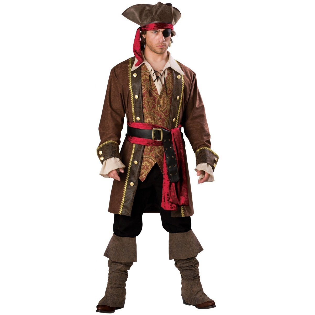 InCharacter Costumes Men's Captain Skullduggery Pirate Costume, Brown, X-Large