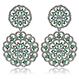 Aooaz Wedding Earrings Dangling Earrngs Silver Plated For Women CZ 2 Hollow Flower Silver Green 3.3X5.5Cm