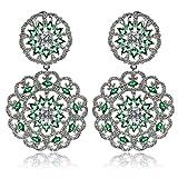 Aooaz Wedding Earrings Dangling Earrngs Silver Plated For Women CZ 2 Hollow Flower Silver Green 3.3X5.5Cm