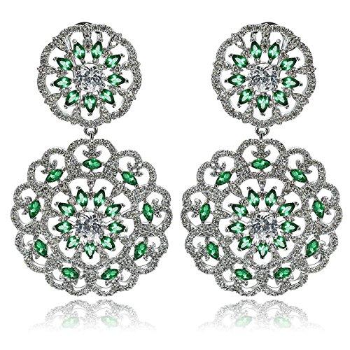 Aooaz Wedding Earrings Dangling Earrngs Silver Plated For Women CZ 2 Hollow Flower Silver Green 3.3X5.5Cm by Aooaz