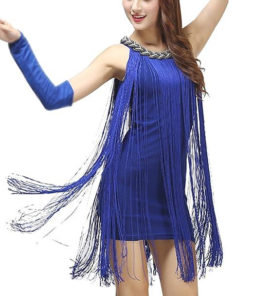 Gladiolus Mujer Vestido Moderno Baile Latino Elegante Borla Largas Vestidos De Fiesta Azul Un-Tamaño