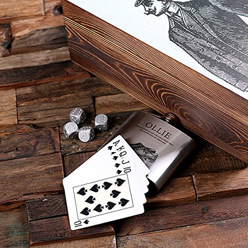 Flasks with Personalized Poker Chips, Cards, Dice Gambling Gift Sets _Gentleman_Small