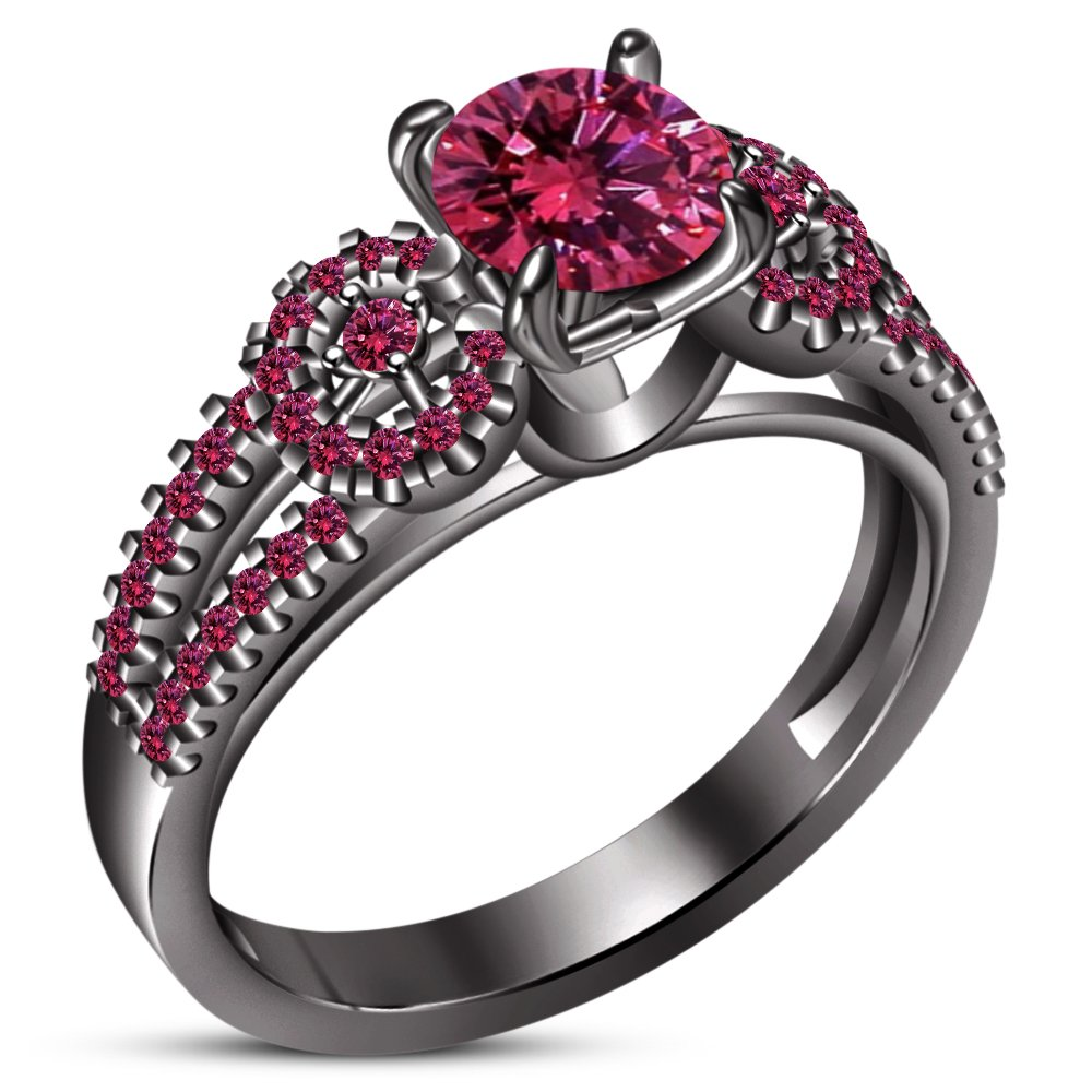 TVS-JEWELS Pink Gemstone Wedding Engagement Ring For Women's Black Rhodium Plated 925 Sterling Silver (8.25)