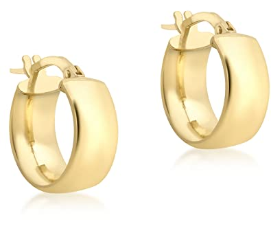 Carissima Gold 9 ct Cubic Zirconia Band Creole Earrings sD1HBusl