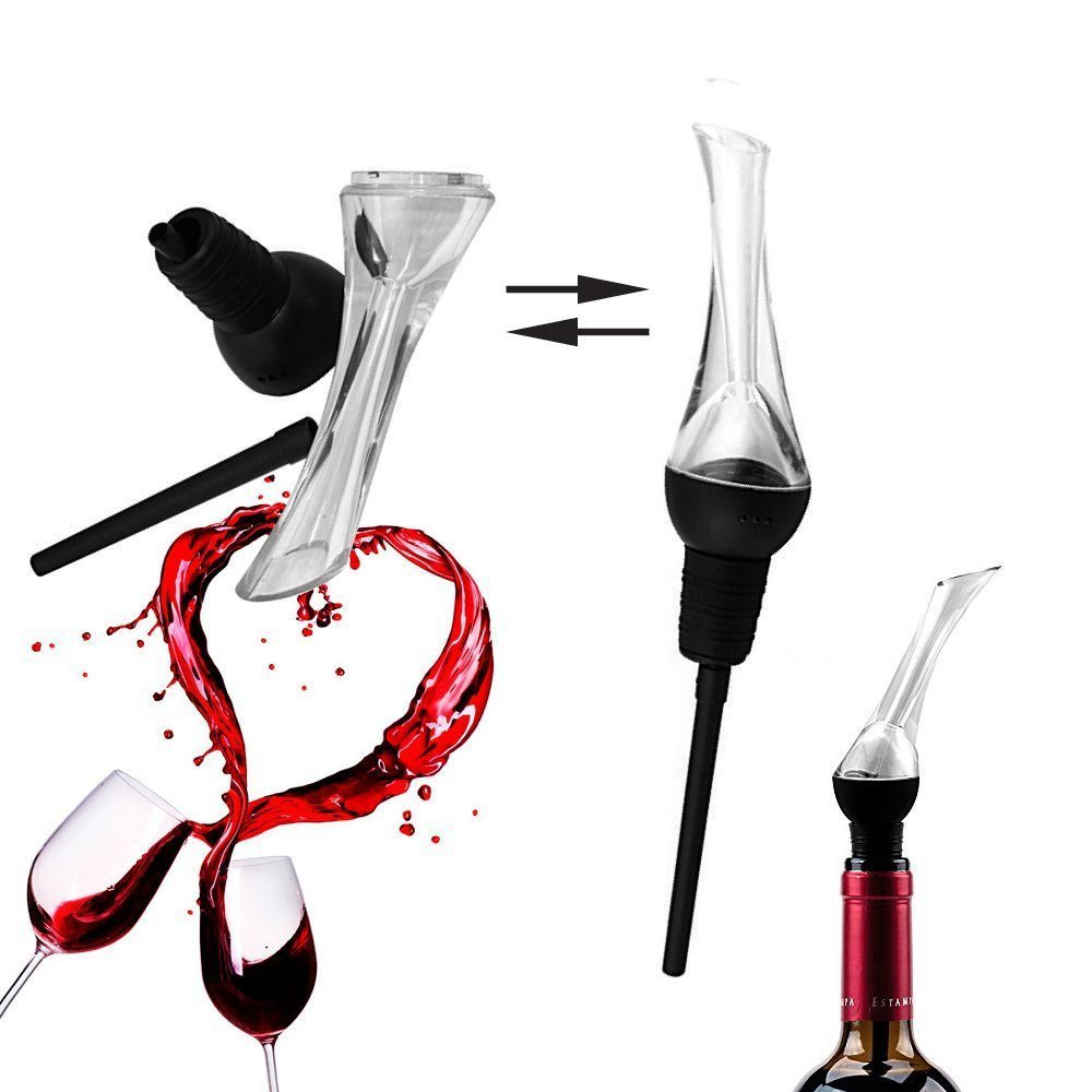 Wine Pourer, Spirit Pourer, Drinks Pourer, Oil Pourer, Bottle Pourer,Quick Aerator Best Decanter and Bonus Wine Cocktail Recipes Diffuser Breather Bar Gift Accessory