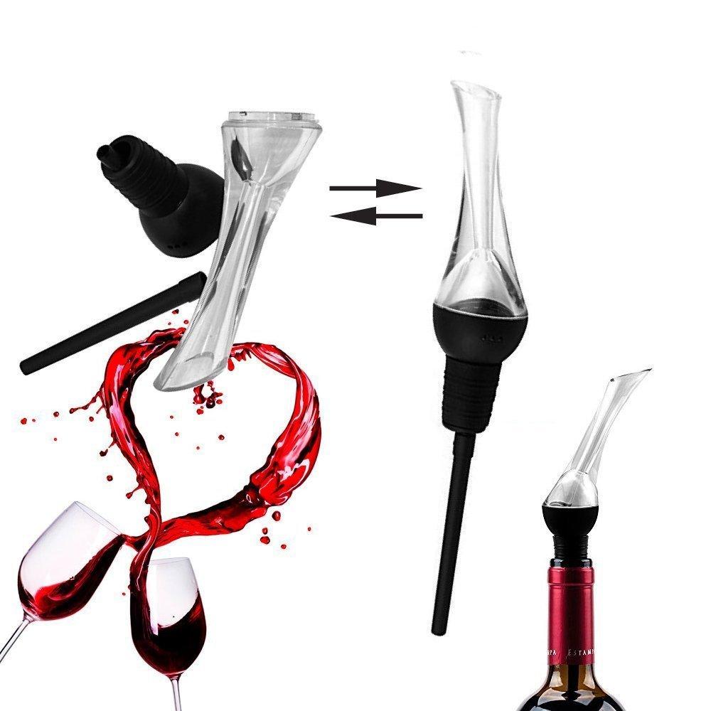 Wine Pourer, Spirit Pourer, Drinks Pourer, Oil Pourer, Bottle Pourer,Quick Aerator Best Decanter and Bonus Wine Cocktail Recipes Diffuser Breather Bar Gift Accessory