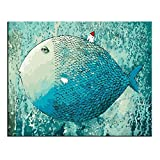 Rihe DIY oil painting, paint by number kit- Big fish,Small house16*20 inch (Frameless)