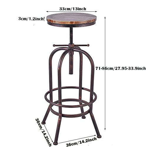 BOKKOLIK Set of 2 Industrial Bar Stool-Retro 28-34inch Swivel Stools-Extra Tall Kitchen Chair-Bar Counter Height Adjustable-Fully Welded Copper 2PCS