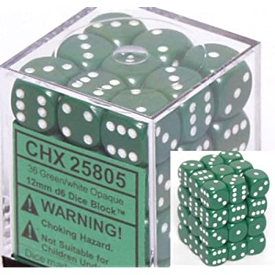 Chessex Opaque 12mm d6 Green w/White Dice Block 36 Dice: Toys & Games