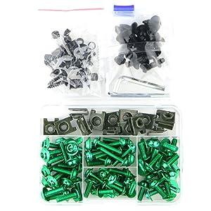 Universal Fairing Bolt Kits Fasteners for KAWASAKI NINJA 300 / 650R, ZX-6R / ZX-10R / ZX-14, HONDA CBR600RR/ CBR1100XX/ 1000RR, SUZUKI GSXR600 GSXR750 GSXR1000 GSX1300R, YAMAHA YZF R3/ R6/ R1 (Green)
