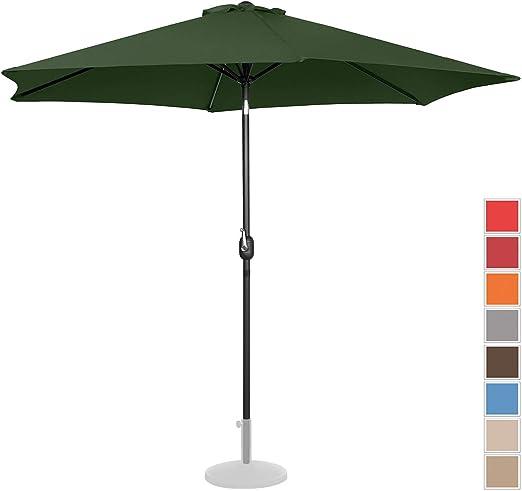 Uniprodo Sombrilla Grande Parasol De Jardín Uni_Umbrella_TR300GR (Pantalla Hexagonal De Ø 300 cm con Densidad De 180 g/m2, Inclinable, Color Verde): Amazon.es: Jardín