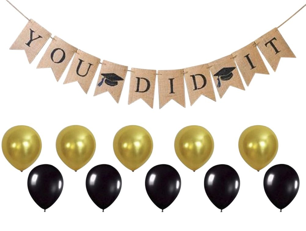 You DID IT Graduation Banner - Grad Party Supplies and Decorations - Celebrate with Gold & Black Balloons - Ready to Hang Burlap Banner - by Jolly Jon