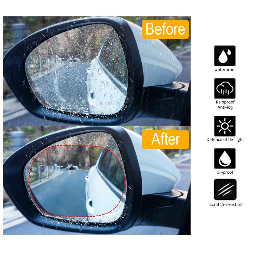 . 4 Pack Rainproof Film for Car Rearview Mirror,Anti-Fog Film for Car and SUV,Mirrors Rainproof Film,Clear Anti- Fog Film Have Clear View Driving in The Rain