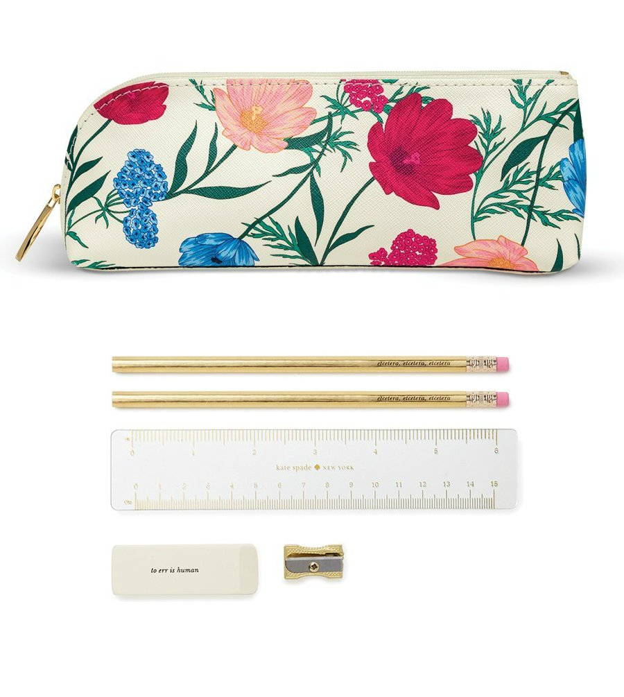 Kate Spade New York Women's Blossom Pencil Case, Red/Blue/White, One Size