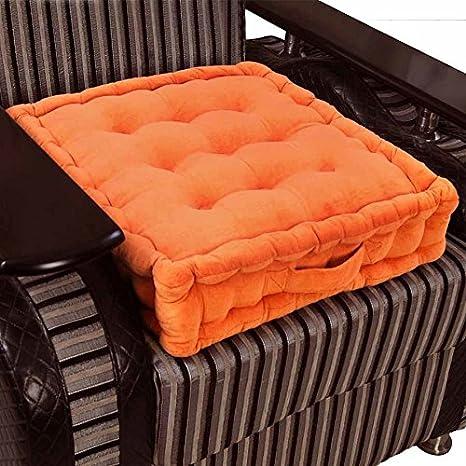 Homescapes Cojín Elevador para sillón, Relleno de poliéster y tapizado en 100% algodón, 50 x 50 x 10 cm Color Naranja