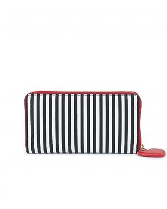 3ac7bc64d5e8b Lulu Guinness Womens Stripe Continental Wallet Wallet Multicolour  (Blk Chalk)