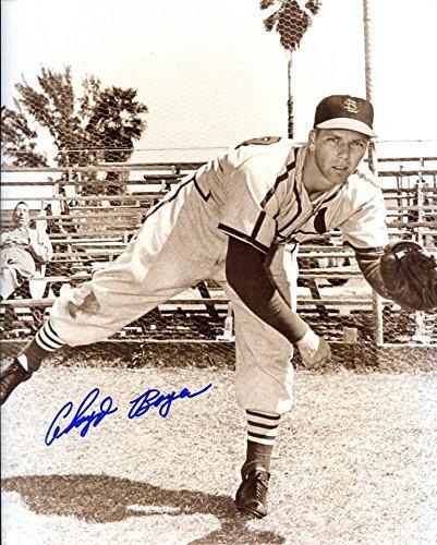 (Cloyd Boyer Autographed/ Original Signed 8x10 Sepia Photo w/ the St. Louis Cardinals)