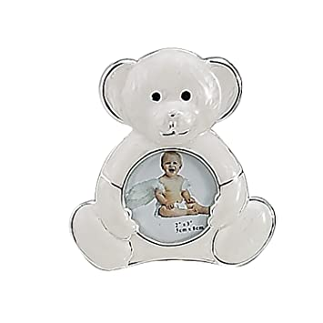 Amazon.com : SILVER AND ENAMEL TEDDY BEAR FRAME - Picture Frame ...