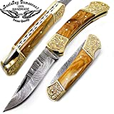 Olive Wood Brass Double Bloster Beautiful Scrimshaw Work 7.6'' Handmade Damascus Steel Folding Pocket Knife 100% Prime Quality