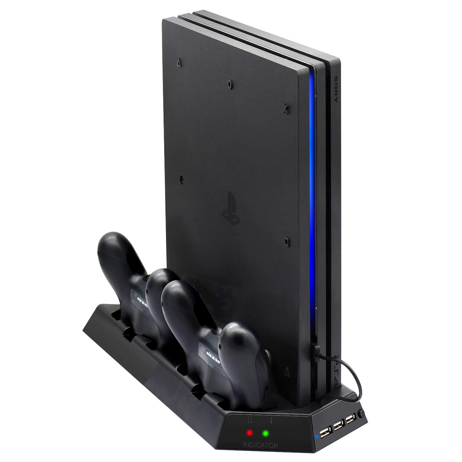 Vertical Stand for PS4 Pro with Cooling Fan, FastSnail Controller Charging Station for Playstation 4 Pro, Charger for DualShock 4 Controllers with LED Charging Indicator by FASTSNAIL