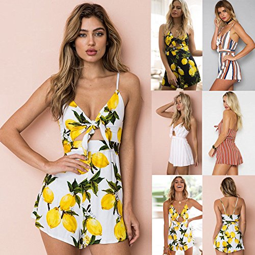 Jumpsuit Summer 8 Yellow Holiday 14 Black Crop Ladies Playsuit Dress Bowknot Floral Tops Womens XOxZFqwn