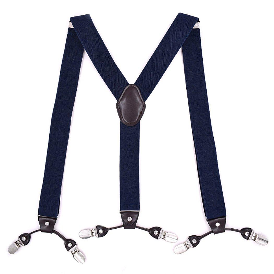 Fascigirl Men Suspender Fashionable Adjustable Elastic 6 Strong Clips Practical Y Back Suspenders Pant Brace