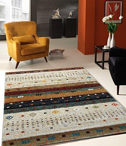 Teppich Designer Wohnzimmer Teppich Hochwertig Trend Vintage Beige Bunt - 80x150 cm - schadstofffrei -