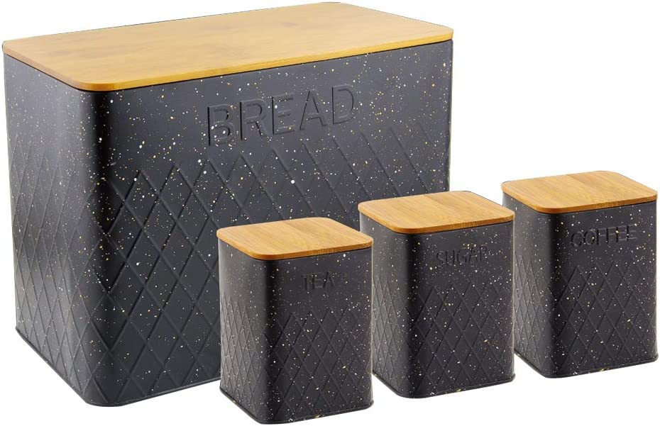 HausRoland Bread Box for Kitchen Counter Stainless Steel Bread Bin Storage Container For Loaves Pastries Dry Food (Black, GS-03052-A405)