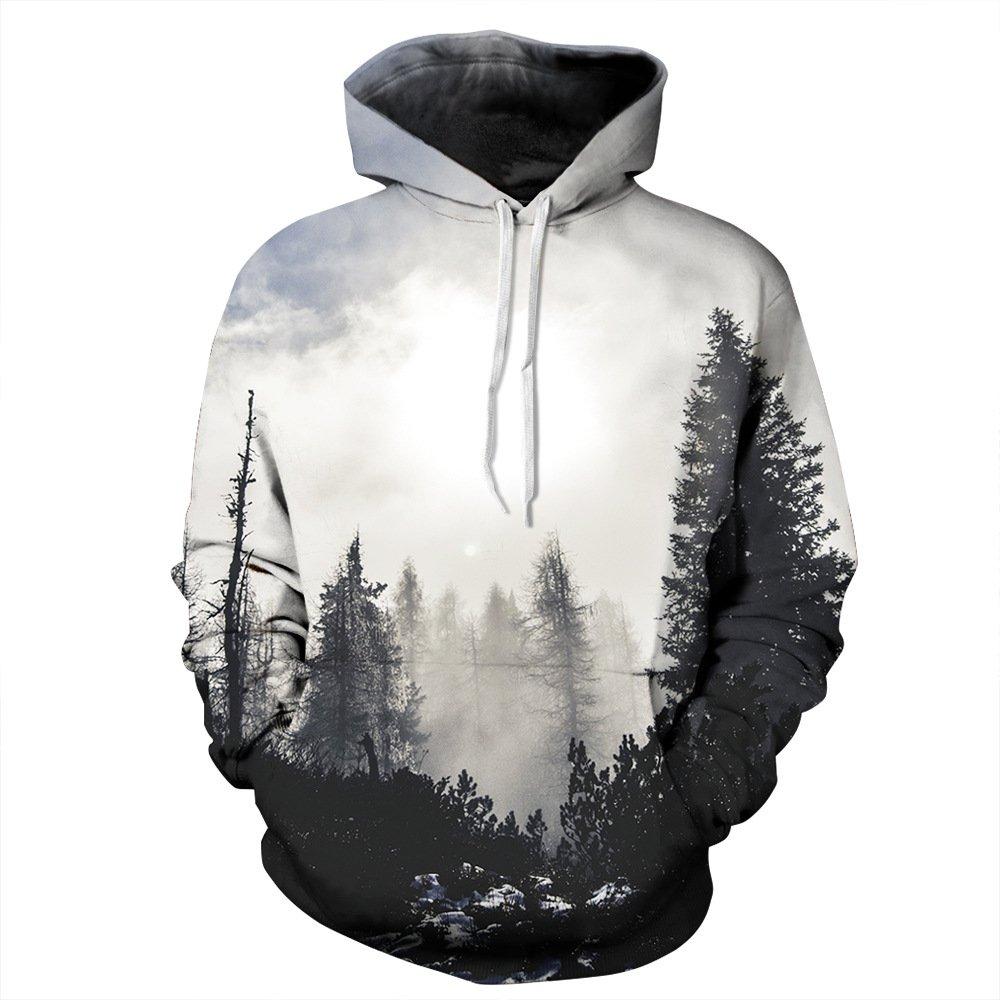 Youvimi Unisex 3d Printed Drawstring Pockets Pullover Hoodie Hooded Sweatshirt (S/M, Redwhite)
