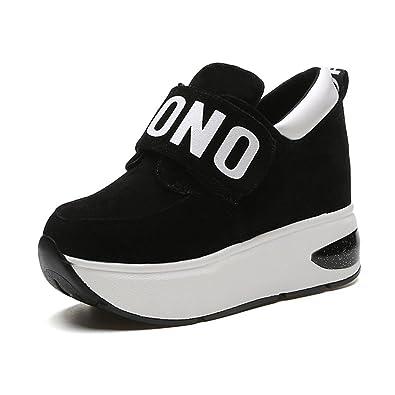 9a39ba526920f PP FASHION Women's Elegant Formal Casual Sports Wedges Platform Sneakers  Hidden Heel Shake Shoes Black US5