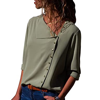 685fe983 Womens Solid Roll Sleeve Button Detail Shirt Loose Fit Casual Blouses Tops S