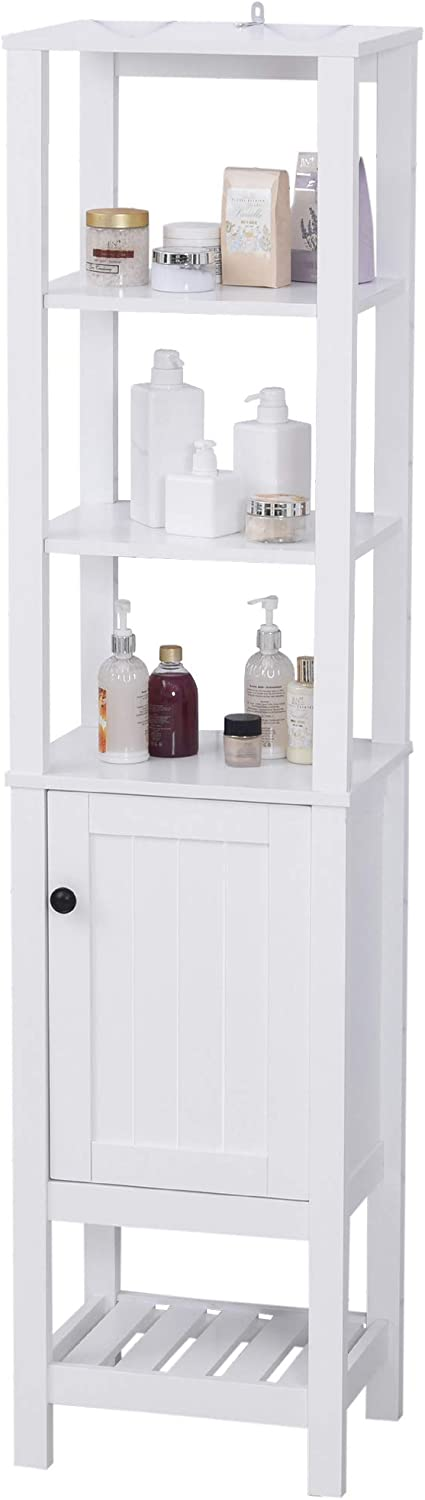 HOMCOM Freestanding Wood Bathroom Storage Tall Cabinet Organizer Tower with Shelves & Compact Design, White