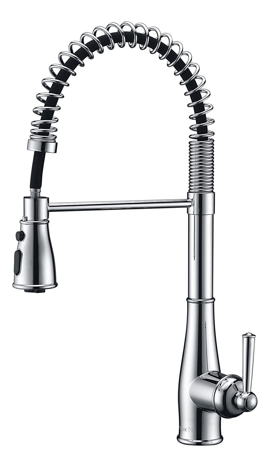 Purelux Commercial Style Pull Down Kitchen Sink Faucet with Deck Plate, Coiled Spring One Handle Control 3 Setting, Fit for 1 or 3 Hole Installation, Chrome Finish Professional