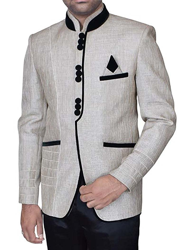 INMONARCH Mens Natural 3 Pc Jodhpuri Suit Desinger JO326